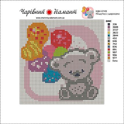 КДІ-0749 Набір алмазної вишивки Мишко з кульками, фото 2