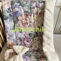 Флисовый плед-конверт с декоративным бантиком 100х80 см, молочный с цветами
