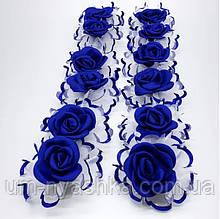 Бант синие-белый Розочка 8 см