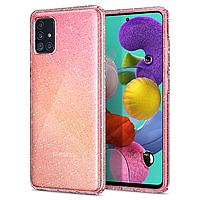 Чехол силиконовый для Samsung Galaxy A51 A515F прозрачный с блестками (самсунг а51 а515ф)