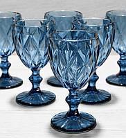 Цветные бокалы для вина синие, набор 6 шт*240 мл