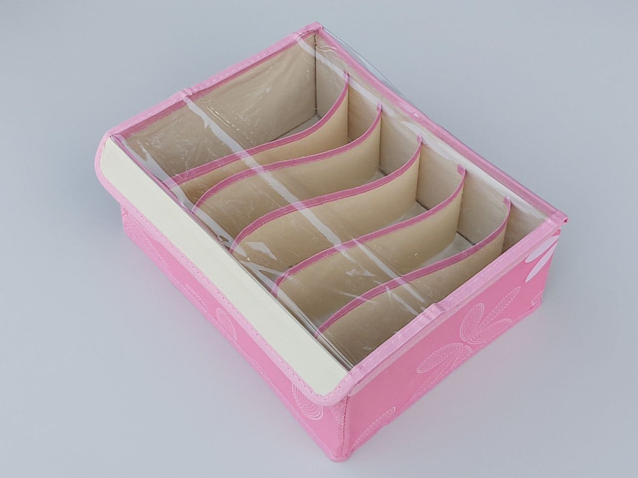 Органайзер на 6 отделений с крышкой  для хранения нижнего белья и мелких предметов одежды.Цвет розовый