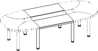 Элемент конференц стола Evolution ДСП 18\108 (1100х1200х779)