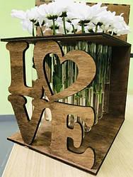 """Подставка под цветы из дерева """"LOVE"""" Светлое дерево"""