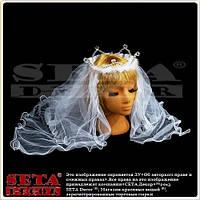"""Корона """"Невеста"""" с длинной белой фатой"""