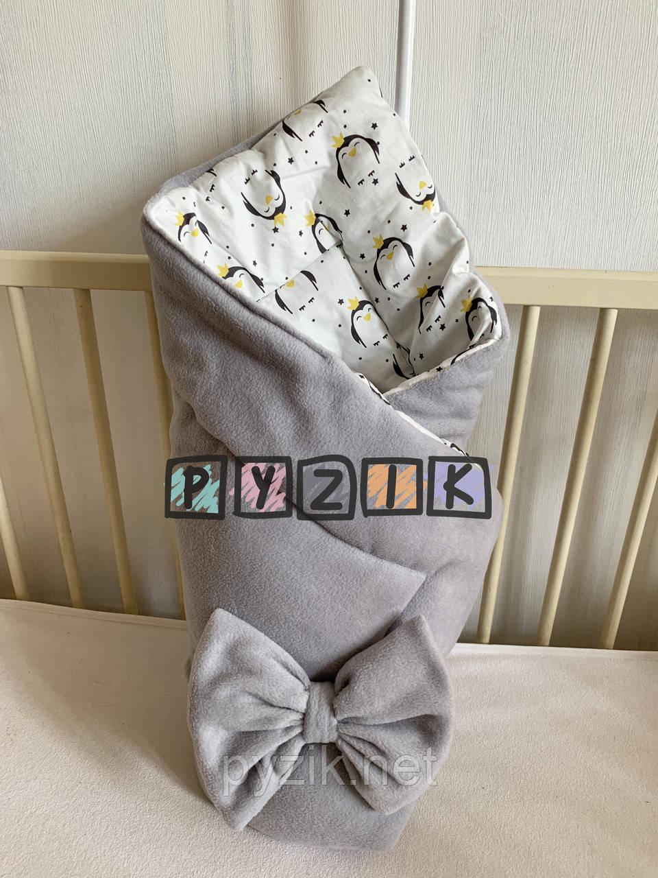 Флісовий плед-конверт з декоративним бантиком 100х80 см, сірий з пінгвінами