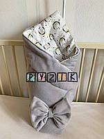 Флісовий плед-конверт з декоративним бантиком 100х80 см, сірий з пінгвінами, фото 1