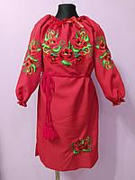 """Вышитое платье """" Маки в зелени """" для девочек на рост 116-158 см"""