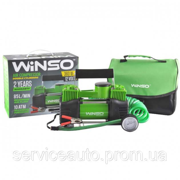 Компрессор автомобильный WINSO 10 Атм, 85 л/мин. 2-цилиндра 360Вт., кабель 3м., шланг 5,7м (Winso 125000)