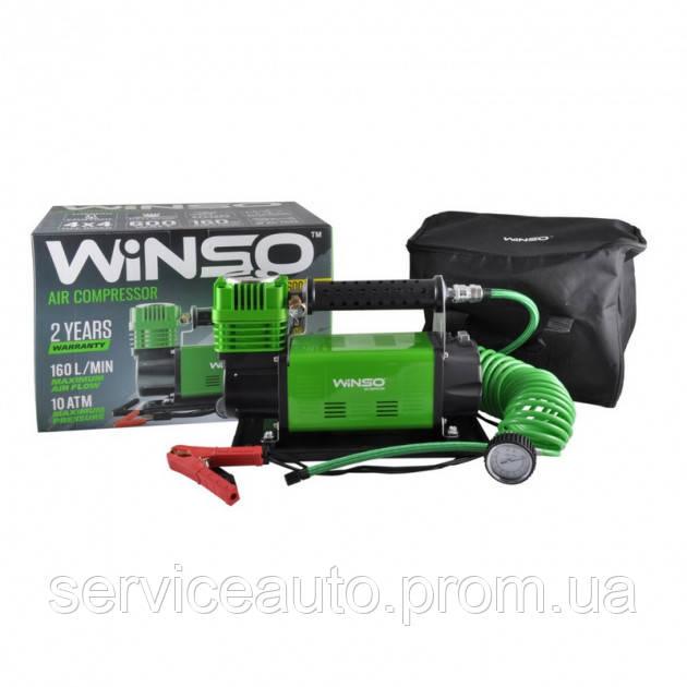 Компрессор автомобильный WINSO 10 Атм, 160 л/мин., 600 Вт, кабель 2м, шланг 7,4 м (Winso 129000)