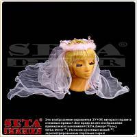 """Розовая корона """"Невеста"""" с длинной фатой"""