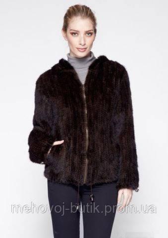 куртка из вязаной норки модель шерон шоколадный с подкладкой