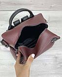 Бордовая женская сумка-рюкзак 463 на плечо трансформер с длинной ручкой и карманом, фото 3