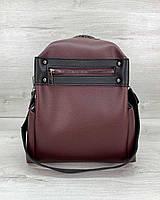 Бордовая женская сумка-рюкзак 463 на плечо трансформер с длинной ручкой и карманом, фото 1