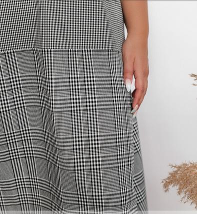 Повседневное платье батал в клеточку Размеры: 48.50.52.54., фото 2