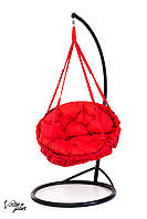 Подвесное Кресло качеля-гамак с круглой подушкой Kospa Красный (150 кг)