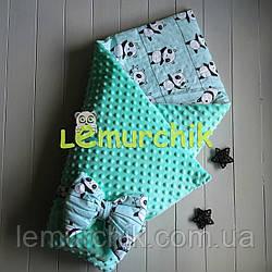 Конверт-одеяло минки на синтепоне мятный с пандами