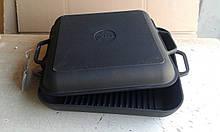 Сковорода гриль чугунная эмалированная, квадратная, с крышкой сковородой, 280мм*280мм, h=40мм