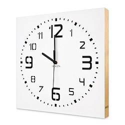 Настенные часы ручной работы Kauza - 3D цифры с деревянным бортом бесшумный механизм Белые (kau_0004)