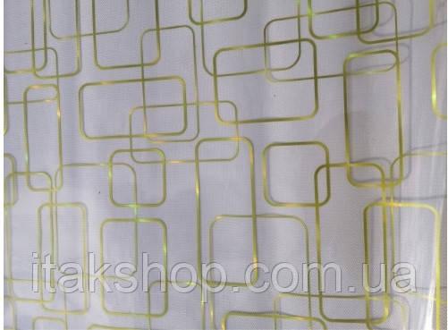 Мягкое стекло Скатерть с лазерным рисунком Soft Glass 2.0х0.8м толщина 1.5мм Золотистые прямоугольники