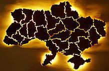 Деревянная карта Украины с LED подсветкой  50 * 75 см из дубовой ламели