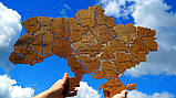 Деревянная карта Украины с LED подсветкой  50 * 75 см из дубовой ламели, фото 2