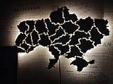 Деревянная карта Украины с LED подсветкой  50 * 75 см из дубовой ламели, фото 7