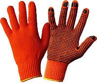 Перчатки х/б оранж. с пвх покрытием