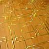 Мягкое стекло Скатерть с лазерным рисунком Soft Glass 2.8х0.8м толщина 1.5мм Золотистые прямоугольники, фото 2