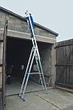 Алюминиевая трехсекционная универсальная лестница 3 х 7 ступеней, фото 7
