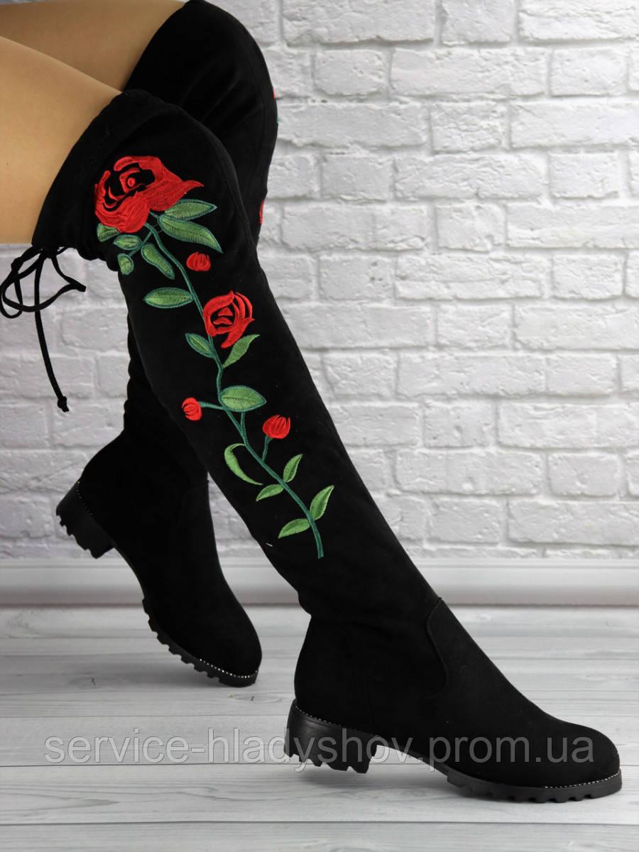 Fashion / Женские ботфорты с вышивкой Rafael черные 1326 (36 размер)