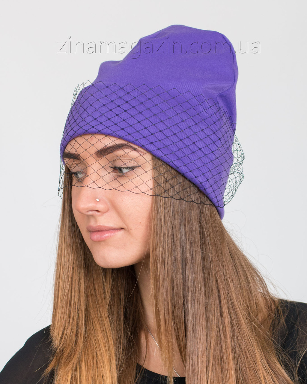 Шапка фиолетовая с черной вуалью