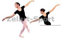 Купальник (трико) гимнастич. Х/б корот.рукав черный детский(р-р RUS32-42, рост122-164см)