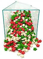 Посыпка звезды белые, зеленые, красные 1 кг
