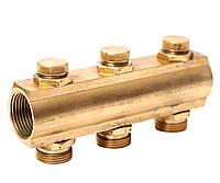 """Гребенка коллекторная с отсекающими вентилями под ключ 1""""х3/4"""" 3 вых. ASCO Armatura"""