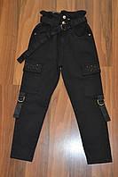 Чёрные,Котоновые брюки Mom на высокой талии, для девочек , Размер 134-164 см .Фирма GRACE.Венгрия, фото 1