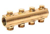 """Гребенка коллекторная с отсекающими вентилями под ключ 1""""х3/4"""" 4 вых. ASCO Armatura"""