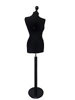 Манекен портновский производитель Ailant размер 50 в черном чехле на круглой деревянной подставке, фото 1