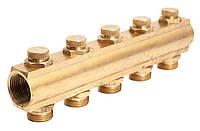 """Гребенка коллекторная с отсекающими вентилями под ключ 1""""х3/4"""" 5 вых. ASCO Armatura"""