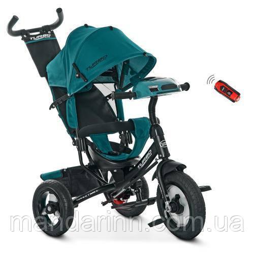 Детский Трехколесный велосипед-коляска с фарой USB Турбо M 3115H-4-1. Зеленый