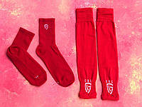 Гетры футбольные без носка + носки GUL(белые)/комплект/обрезки/для футбола, фото 1
