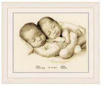 """Набор для вышивки крестом """"Новорожденные близнецы"""" (Twins Birth Sampler)"""