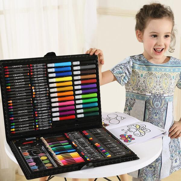 Художественный набор для творчества 150 предметов детский в удобном чемодане + подарок раскраска