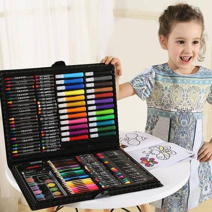 Художественный набор для творчества 150 предметов детский в удобном чемодане + подарок раскраска, фото 2