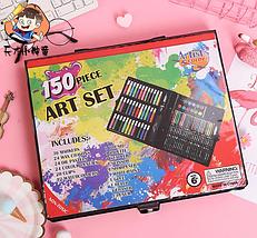Художественный набор для творчества 150 предметов детский в удобном чемодане + подарок раскраска, фото 3