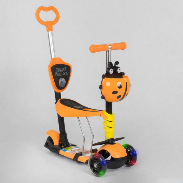 Детский самокат-беговел 5в1, Best Scooter 92124, Желто-оранжевый, с рисунком и светящимися колёсами