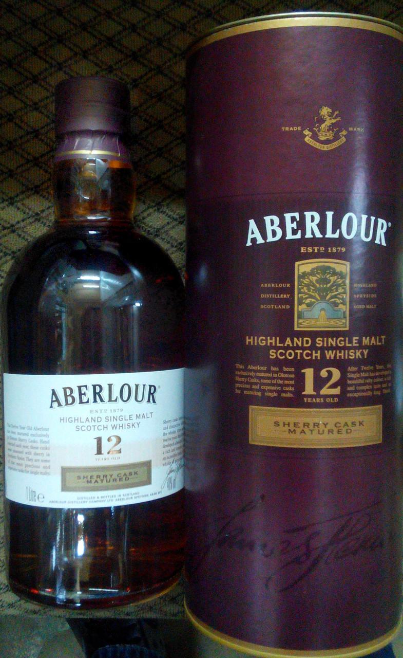 Шотландский виски 12 летней выдержки Аберлау в подарочном тубусе 1л
