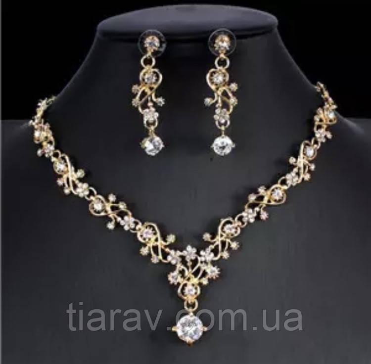 Ожерелье, свадебное колье и серьги набор бижутерии