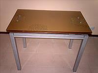 Стол обеденный стеклянный раскладной В 179-40 Цвет шампань, фото 1
