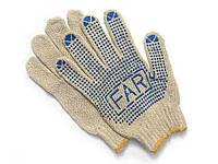 Перчатки белые с ПВХ точкой FAR (упаковка 12 пар)